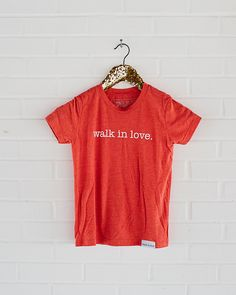 kids tee / graphic youth t-shirt / walk in love. / red