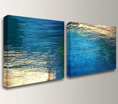 Nature Photography on Canvas Print - Wall Decor Set  - Large 30x60 Diptych - Blue & Gold - Color Photography Water Photo