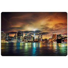 City Pet Mats for Food and Water by Ambesonne, Fantasy Dramatic Sky in New York at Nighttime Stormy Sunset Vibrant Water Reflections, Rectangle Non-Slip Rubber Mat for Dogs and Cats, Multicolor *** Click on the image for additional details. (This is an affiliate link) #DogFeedingWateringSupplies