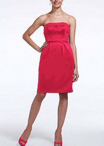 Classic, timeless and chic, your bridesmaids will look stunning in this short and sleek dress!  Strapless bodice with straight neckline features cut out back with bow detail which creates a unique focal point.  All colors are available in limited stores as solids only.  Fully lined. Side zip. Imported polyester. Dry clean.  To protect your dress, try our Non Woven Garment Bag.
