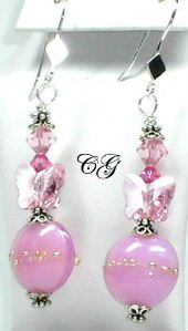 lampwork earrings with pink lentil lampwork beads