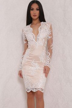 Chic Floral Lace Overlay Lined scalloped edge White Mini Dress
