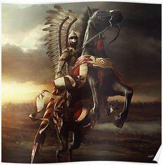 'Hussar' Poster by Przemek Nawrocki Filipino Tattoos, Templer, Arte Popular, Knights Templar, Angel Warrior, Military Art, Fantasy Characters, Character Art, Fantasy Art