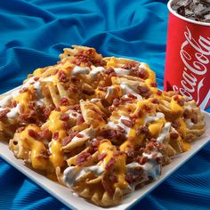 Bacon ranch fries, hahaha i feel like most people would think this is disgusting but this looks pretty good to me, lol