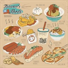 Illustration of Taiwan delicious snacks collection set in flat style vector art, clipart and stock vectors. Tea Snacks, Yummy Snacks, Taiwan Culture, Taiwan Image, Travel Doodles, Bubble Milk Tea, Food Doodles, Taiwan Travel, Taiwan Food