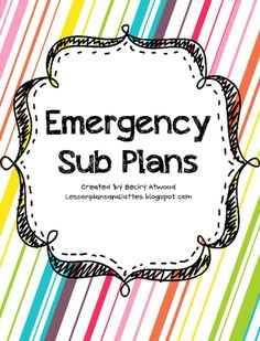 FREE! Emergency Sub Plans from LessonPlansandLattes on TeachersNotebook.com -  (20 pages)  - Free emergency sub plans for all 5 subjects!