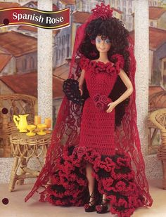 Spanish Rose Dress & Mantilla for Barbie Doll Crochet PATTERN -30 Days To & Pay!