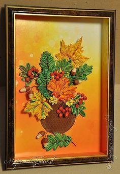 Картина панно рисунок Квиллинг Осенний букет квиллинг Бумажные полосы фото 1