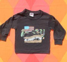 65e6fe2fe vintage 80s kid tee ARMY military long sleeve children t-shirt 4 Small