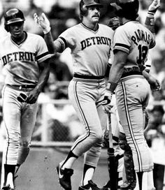 Lou Whittaker, Kirk Gibson and Lance Parrish celebrate after Gibson hit a two run homer in a game in April of 1984.