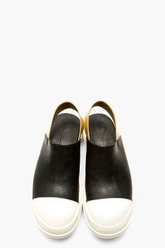 RICK OWENS BLACK & WHITE Slingback Sneaker SANDALS