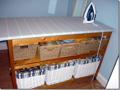 50 ideas sewing table with storage ironing boards Sewing Spaces, Sewing Rooms, Small Storage, Craft Storage, Storage Ideas, Diy Sewing Table, Sewing Ideas, Sewing Room Organization, Iron Board