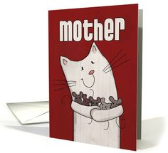 A whimsical white barn cat holds an armful of little field mice that she has caught on this red background wood grain looking image for mother's birthday.©Christie Black.