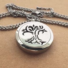 Essential Oil Necklace Diffuser Necklace Aromatherapy Necklace - Tree of Life Necklace - Stainless Steel Silver Necklace