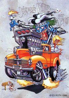 rat fink ed big daddy roth jokers wild Rat Fink, Cartoon Rat, Cartoon Monsters, Vintage Cartoon, Weird Cars, Cool Cars, Ed Roth Art, Jokers Wild, Monster Car