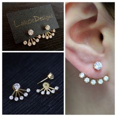 Love this earrings! Simple chic ear jacket by LakooDesigns #earjacket #earcuff #weddingjewelry