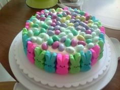 Easter Peep's Cake ~ peeps and M & M eggs with whip cream frosting