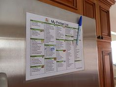Fridge shopping list. I made this. Makes it easy to mark what I need at the time I need it. No more having to remember random things.