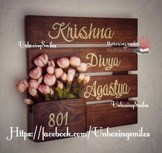 Trendy Home Art Quotes Wood Signs Ideas Wooden Name Plates, Door Name Plates, Name Plates For Home, Krishna, Family Wood Signs, Diy Wood Signs, Wooden Door Hangers, Wooden Doors, Name Plate Design
