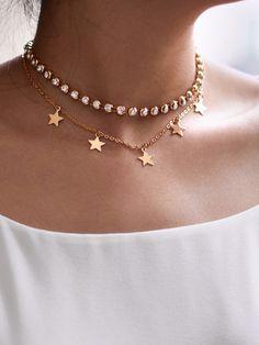 Rhinestone & Star Design Chain Choker -SheIn(Sheinside)