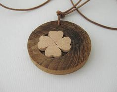St. Patrick's Day necklace / 4 Leaf Clover Necklace / Wooden jewelry / 4 leaf clover pendant / gifts for her