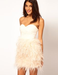 Isis Sequin Feather Dress - WHITE (M)With high-gloss sequins and ...