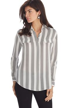 Collar Shirts, Shirt Blouses, Casual Wear, Casual Outfits, Office Outfits, Look Cool, Clothes For Women, My Style, Womens Fashion