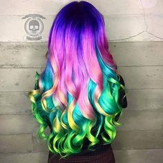 Best Bob And Lob Hairstyles Purple Pink Rainbow Dyed Hair Color Inspiration