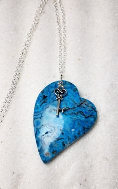 Blue Lace Agate Key to My Heart Necklace.