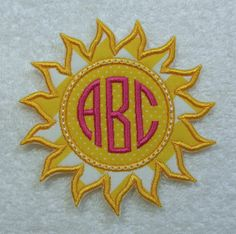 Sun Triple Circle Monogram Embroidered Iron On Patch MADE TO ORDER by TheAppliquePatch on Etsy