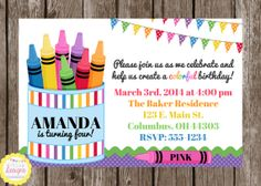 FREE Coloring Page / Placemat With Purchase of a Crayon Rainbow Birthday Invitation by HilltopCustomDesigns, $8.00
