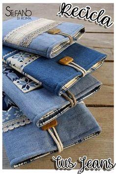 Recicla tus  Jeans y conviértelos en libretas carpetas personalizadas.  DIY   Ideas b7d8540226629