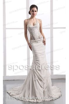 2013 Costly Mermaid Halter Style Ruched Chiffon Sexy Wedding Gown - Oh 724312abf4a4
