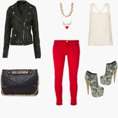 Bright red skinny pants make a statement! Rock them any night of the week! Styled by Aries on WiShi.me (where friends style friends for upcoming events) Follow our styling boards for all the inspiration you need for any event!