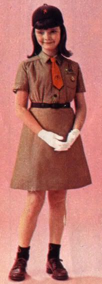 Brownie uniform, 1960's I wore a uniform exactly like this when I was in Brownies! I hated the orange tie. I wished it could be sky blue. I think I even had shoes just like these... Such good memories; I love being a Brownie.