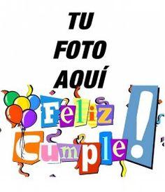 Postal de feliz cumpleaños con letras en colores, serpentinas y globos Happy Birthday Pictures, Ideas Para Fiestas, Bambam, Words, Jay, Club, Happy Birthday Photos, Personalized Cards, Happy Love