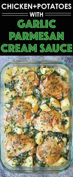 Chicken and Potatoes with Garlic Parmesan Cream Sauce - Crisp-tender chicken baked to absolute perfection with potatoes and spinach. A complete meal in one! | Damn Delicious