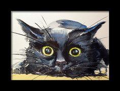 Black Cat Painting - Hunter Cat by Kovacs Anna Brigitta Watercolor Cat, Watercolor Animals, Watercolour Painting, Watercolors, Black Cat Art, Black Cats, Black Cat Painting, Black Kitty, White Kittens