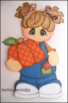 Premade Paper Pieced Pumpkin Girl for Scrapbook Pages-by Babs