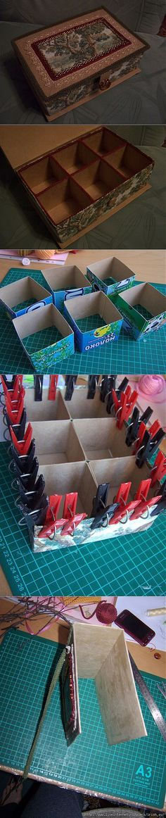 DIY jewel box from cardboard Home Crafts, Diy And Crafts, Crafts For Kids, Cardboard Crafts, Paper Crafts, Cardboard Boxes, Wooden Boxes, Ideias Diy, Diy Box