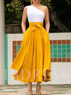 Neon Yellow Irregular Pockets Belt Lace-up High Waisted Flowy Cute Maxi Skirt Yellow Skirt Outfits, Long Skirt Outfits, Yellow Skirts, Yellow Clothes, Tie Skirt, Dress Skirt, Cute Maxi Skirts, Long Skirts, Long Skirt Formal