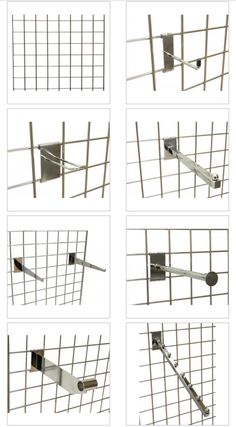 Gridwall accessories - range of chrome accessories to slot easily onto your gridwall panel or gondola - (visit our website for all mesh panels-gondola-triangle displays)  #meshdisplay #fashiondisplay #gridwallpanel #gridwallgondola