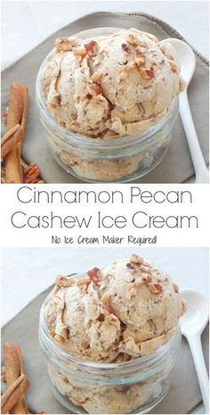 Cinnamon Pecan Cashew Ice Cream. No ice cream maker? No problem! This ice cream can easily be made without it! Dairy free, gluten free and no refined sugar!