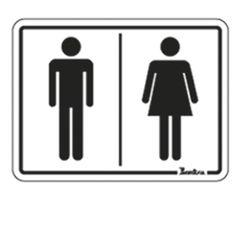 "Kit Placas Autoadesivas em Poliestireno 20x15 cm""Masculino/Feminino"""
