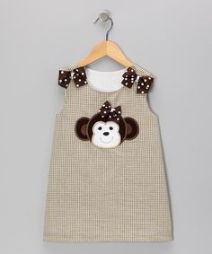 Take a look at this Khaki Monkey Gingham Jumper - Infant, Toddler & Girls by Wiggles and Giggles on #zulily today!