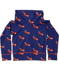 Baba Babywear fantastische trui met een grote kraag en vossen print. baba-babywear.nl.emilea.be