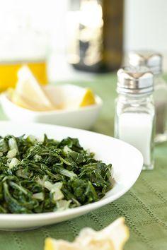 Horta (Steamed Greens with Fresh Lemon Juice and Olive Oil) [Greek Vegetarian]