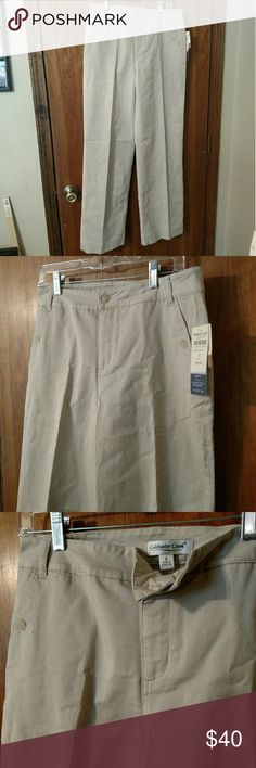 NWT Sz 8 Stretch Twill Straight Leg Pants Slacks New with tags cotton spandex blend versatile and comfortable tan beige pants. Style name is Ivy. ShapeMe styling in a straight leg style with button closure pockets at front and back. Coldwater Creek Pants Straight Leg