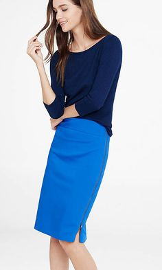 Blue High Waisted Side Zip Midi Skirt from EXPRESS. Have the skirt, now just need the outfit inspiration