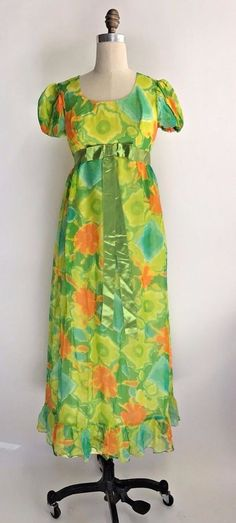 Vintage 60s 70s Prom Dress Maxi Floral Festival Boho Hippie Chiffon Blue Green S